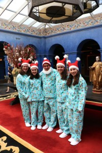 My family's holiday travel tradition - silly PJs in a central spot. Here we're in the lobby of the hotel Palacio del Inka.