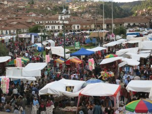 Christmas Eve market in Cusco.