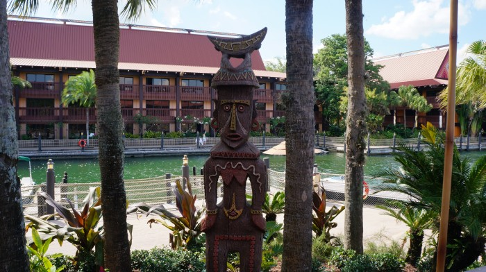 One of the many tiki statues around the terrace