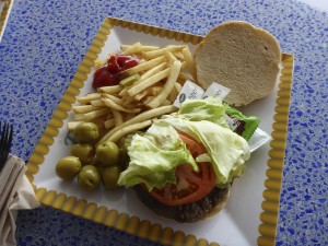 Burger and fries from the counter service restaurants by the pool