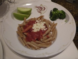 """The """"Mickey Check"""" whole wheat pasta meal"""