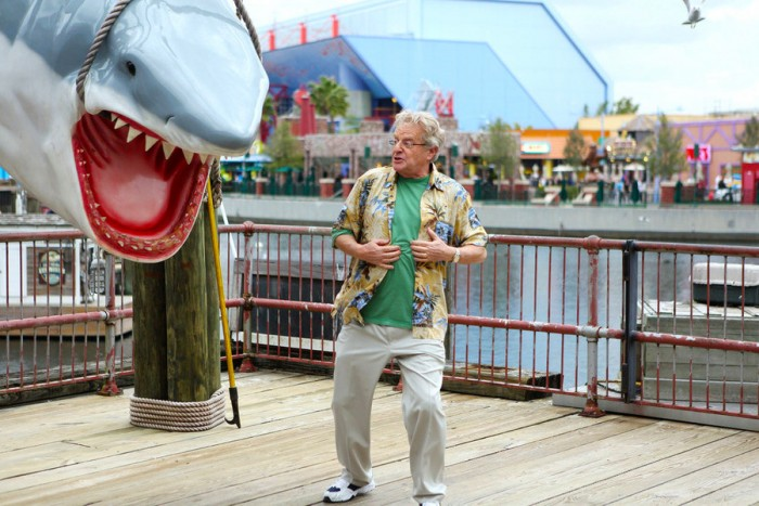 SHARKNADO 3: OH HELL NO! -- Pictured: Jerry Springer as Manic Tourist -- (Photo by: Raymond Liu/Syfy)