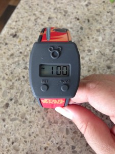 This is how I would want to wear the watch slider--centered on my MagicBand. (Photo by Julia Mascardo)