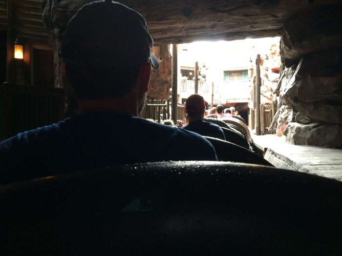 Splash Mountain logs backed up at the exit