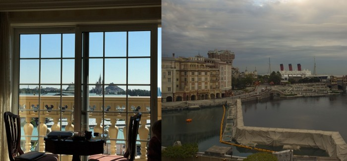 The view from Theme Park View rooms at Tokyo Disneyland Hotel (left) and Hotel MiraCosta (right)