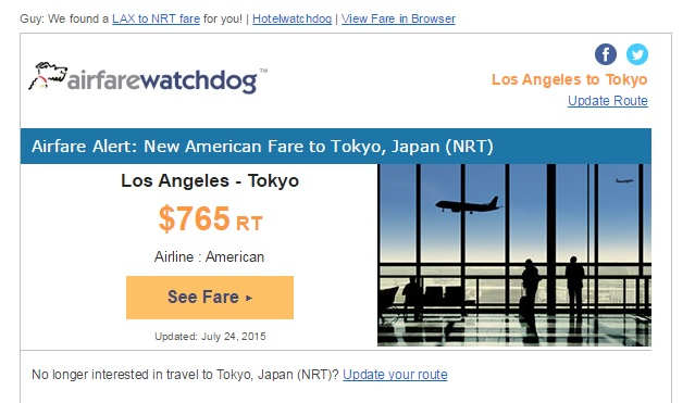 A typical AirfareWatchdog deal email.