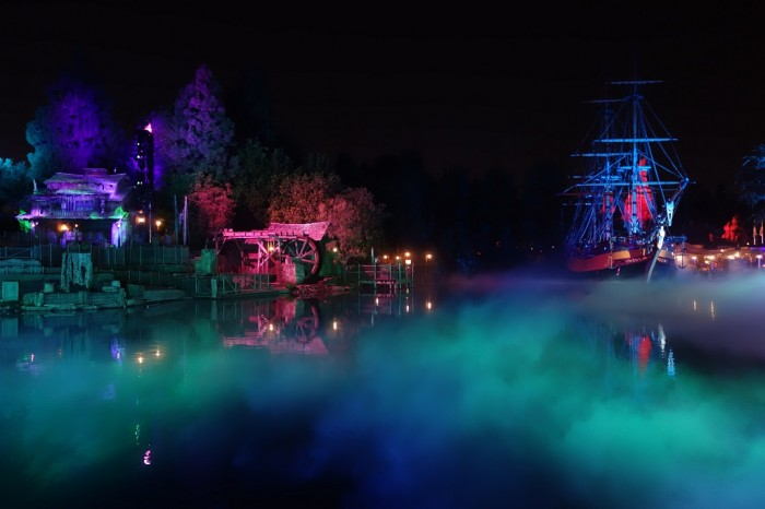 Rivers of America is covered in spooky fog during Mickey's Halloween Party.