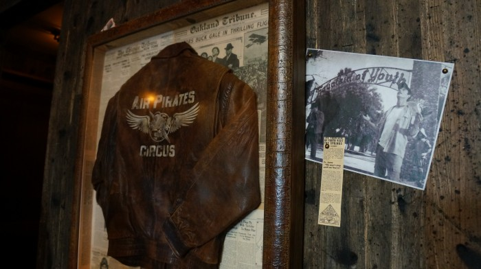Jock's jacket and photo with Indy near the entrance