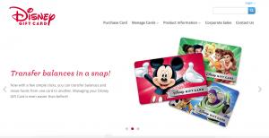 Screenshot of DisneyGiftCard.com