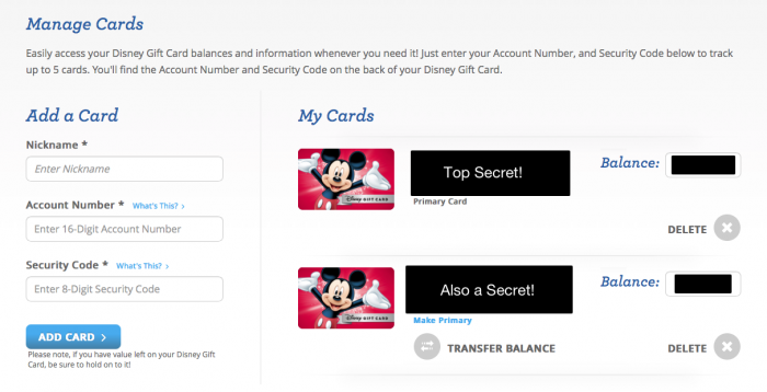 DisneyGiftcard.com - Manage Gift Card Screen
