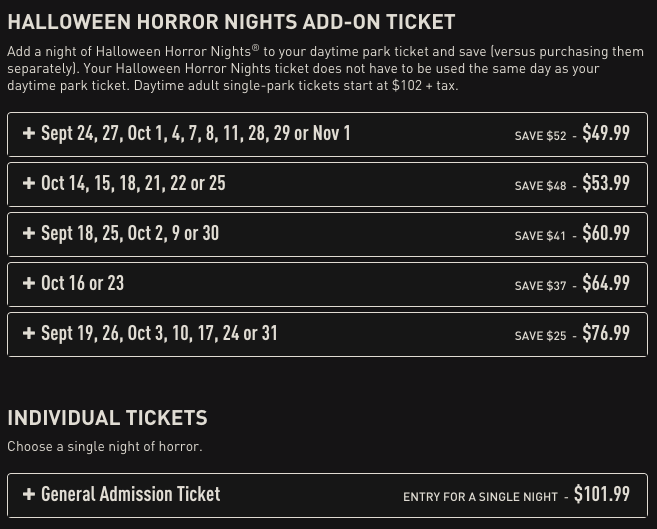 price every night screen shot 2015 09 09 at 82150 pm - How Much Are The Halloween Horror Night Tickets