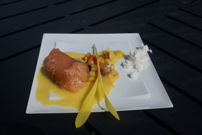 The poached salmon is both tasty and beautiful. (Photo by Julia Mascardo)