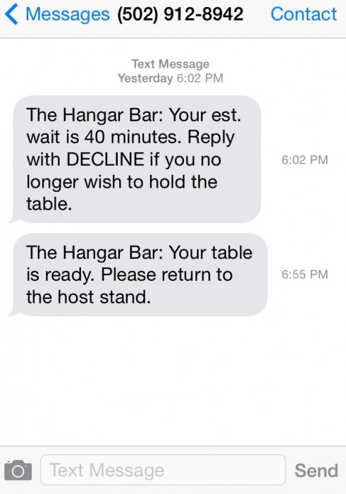 Screenshot of the two texts received as part of the arrival experience