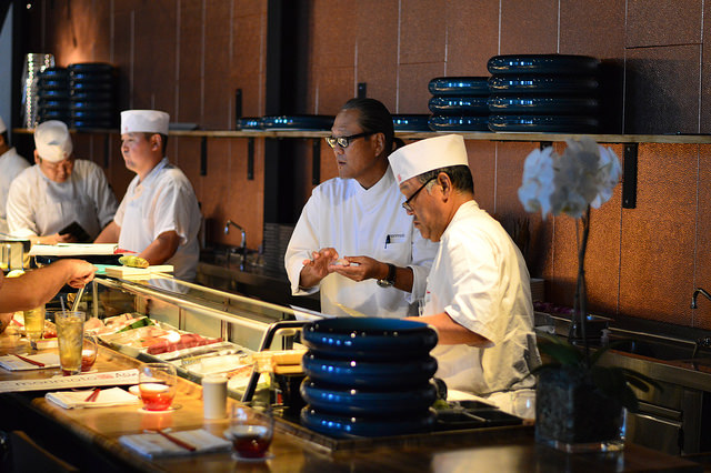 Chef Morimoto serving up sushi during opening week (photo by Brandon Glover)