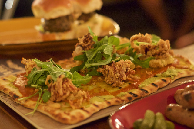 Calamari flatbread (photo by Brian Carey)