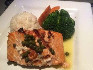 The salmon entrée at Sharks was good, but not overly impressive. (Photo by Julia Mascardo)