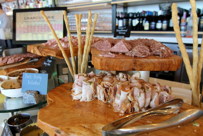 Several varieties of house-made meats and accompaniments are on offer at the charcuterie table.