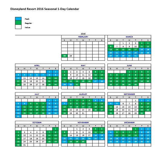 Disneyland Ticket Pricing Calendar 2016