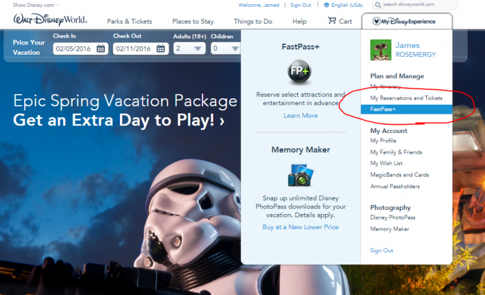 "Get started by clicking on ""FastPass+"" under the drop down menu"