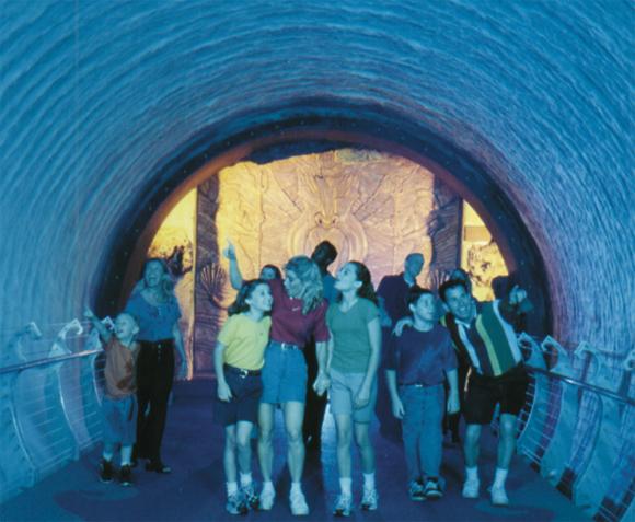 Poseidon's Fury's water vortex tunnel