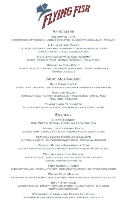 Flying fish reopens august 3 blog for Flying fish disney menu