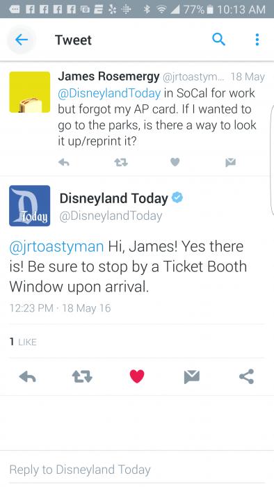 Disneyland Twitter exchange