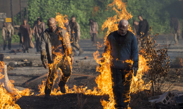 The Walking Dead burning walkers