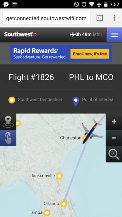 Southwests In-flight tracker
