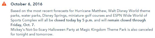 Walt Disney World Weather Warning