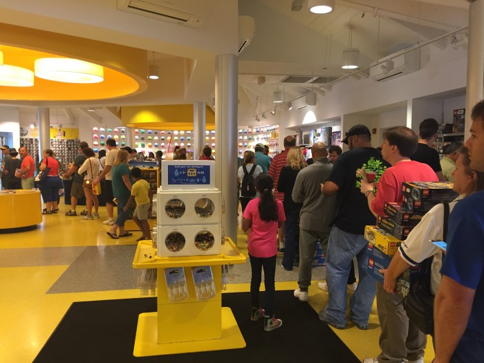 The Lego store was one of the few places with a line.