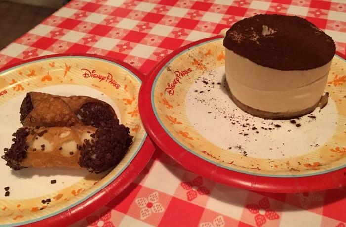 Cannoli and tiramisu desserts