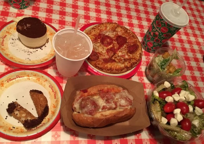 The full spread at PizzeRizzo.