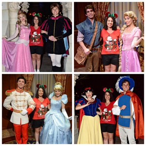 Aurora & Prince Phillip, Rapunzel & Flynn Rider, Cinderella & Prince Charming, Snow White & Prince at Mickey's Very Merry Christmas Party