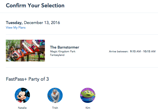 Making FastPass+ Selections in My Disney Experience. Using character avatars helps you make sure you're using your Family and Friends' actual accounts.