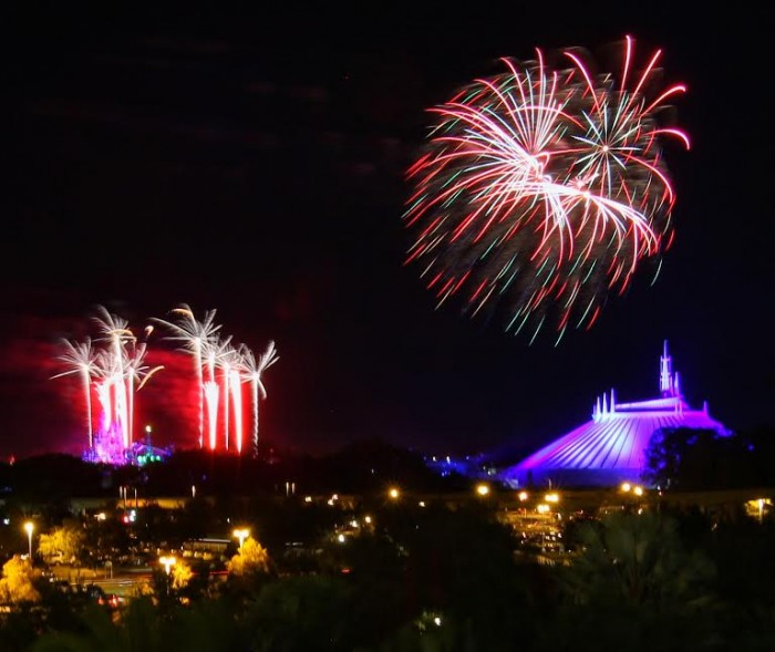 Private fireworks viewing overlooking Magic Kingdom ends the Highway In The Sky dinner.
