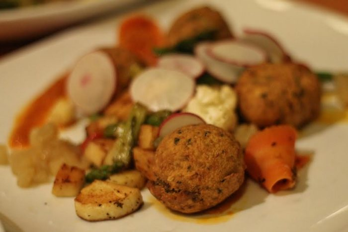 Chickpea fritters with seasonal vegetables
