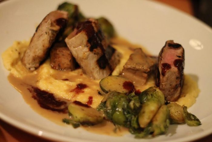 Rosemary-brined pork tenderloin with braised pork belly and marscarpone polenta