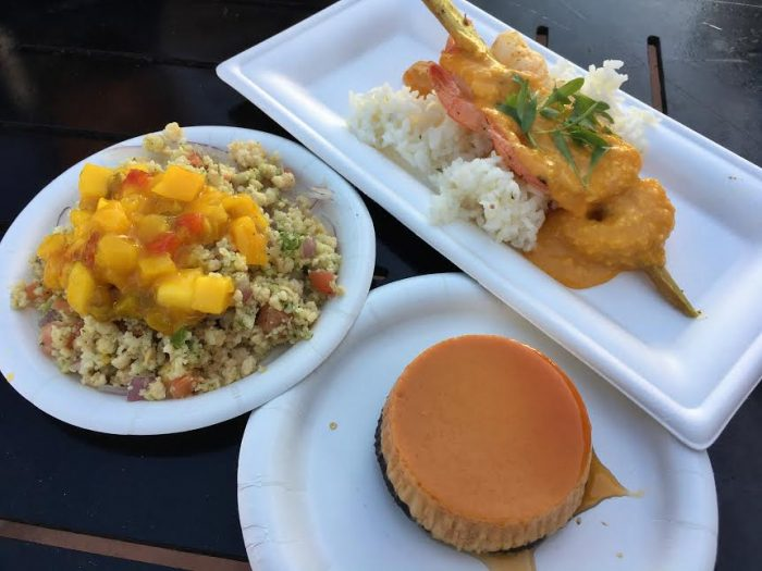 La Isla Fresca: Caribbean conch salad, Sugar cane shrimp skewer, FlanCocho.