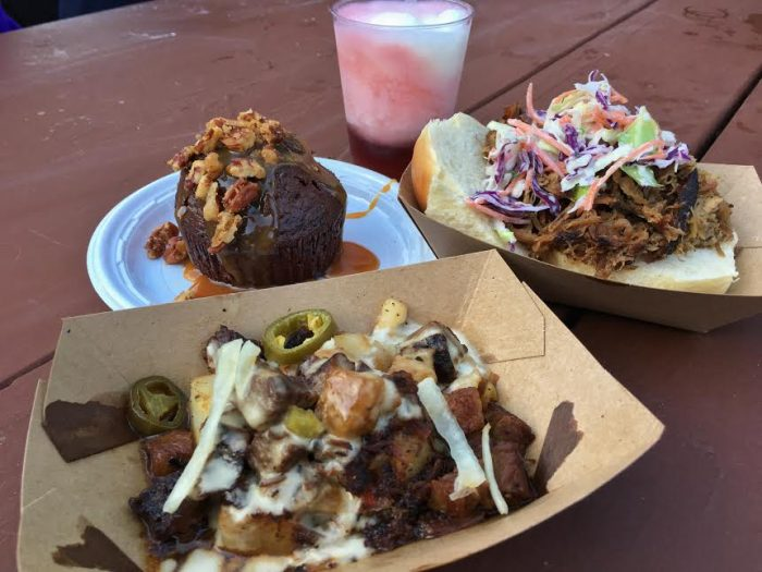 Firefly Blackberry Moonshine with Frozen Lemonade, Pulled Pig Slider, Beef Brisket Burnt Ends, and Warm Chocolate Cake from The Smokehouse