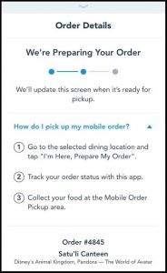 The progress bar for your mobile order will tell you when it's ready