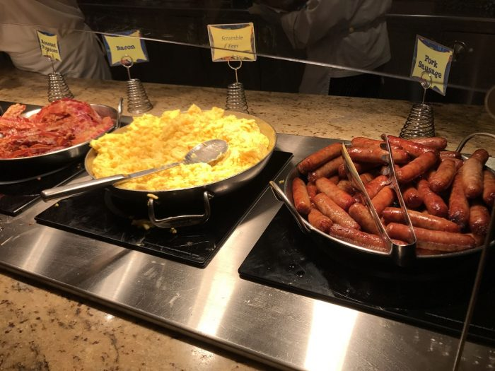 after you meet goofy a server will show you to your seat and tell you can immediately start eating the buffet offers typical breakfast items - Goofys Kitchen