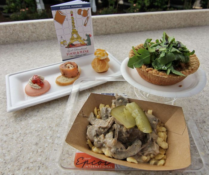 Cheese Studios' Beef Stroganoff, Caramelized Onion and Boursin Cheese Tart, and Cheese Trio