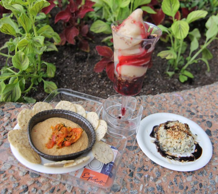 Almond Orchard's Fire-Roasted Tomato Hummus, Cauliflower Risotto with Pulled Chicken, and Banana Almon Soft-Serve Sundae with Berries