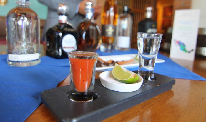 Displays featuring educational materials and each of the tequilas sampled during the meal