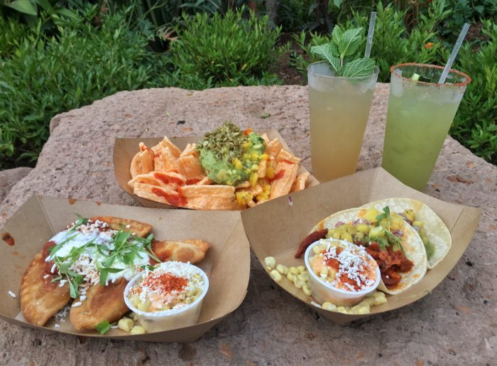 A sampling of food and drinks from Choza de Margarita