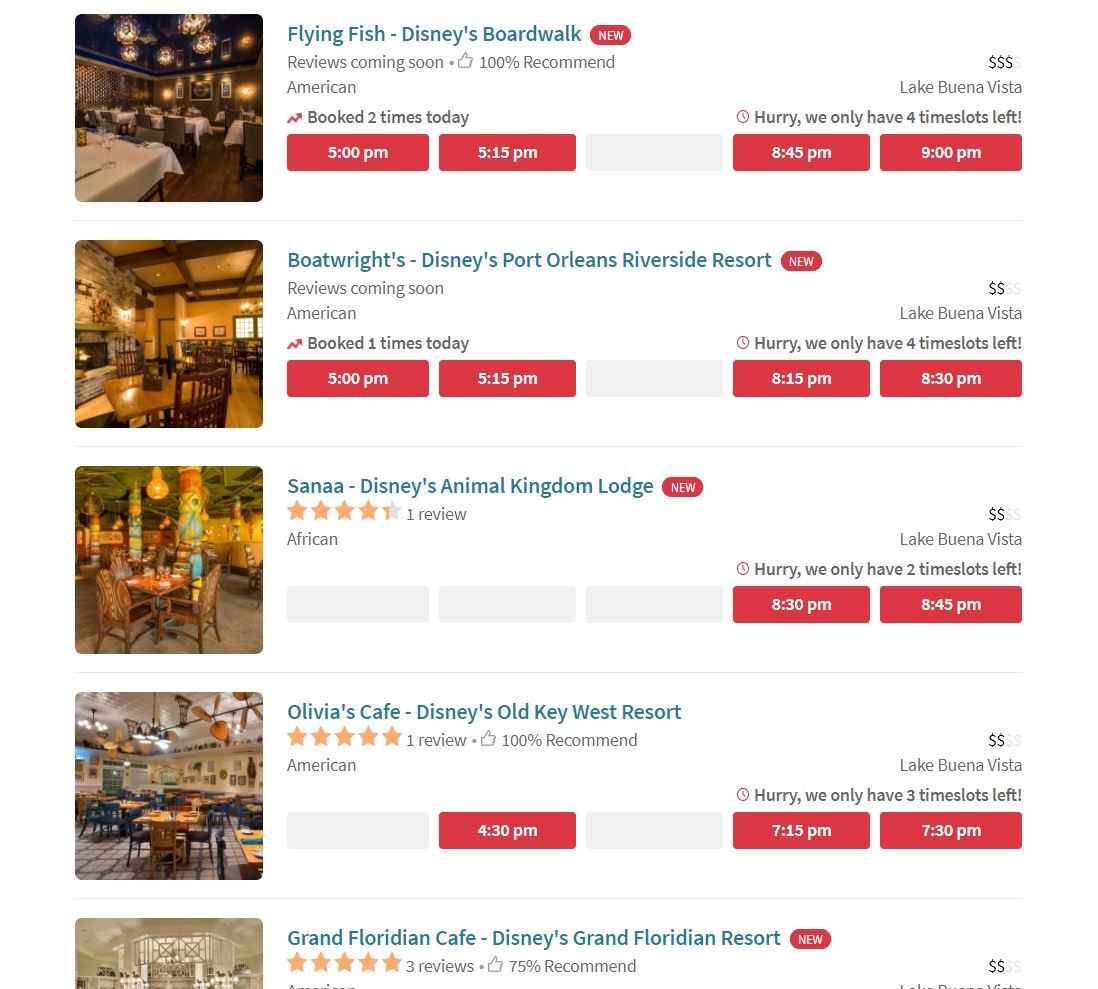 Select Walt Disney World Resort Restaurants Available On