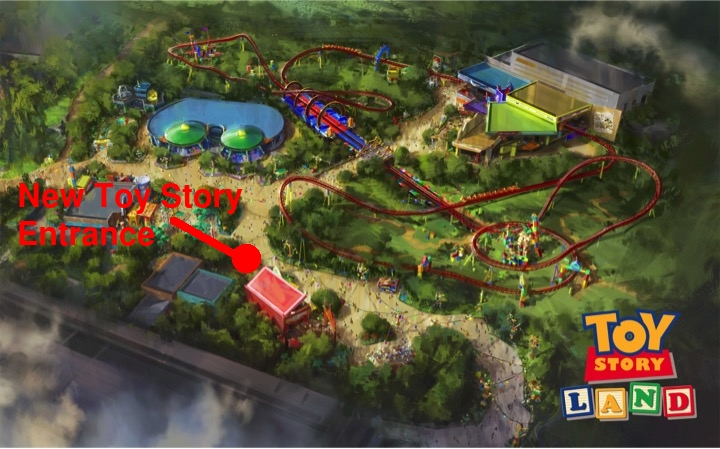 Toy Story Mania's new entrance when it opens in Toy Story Land this summer.