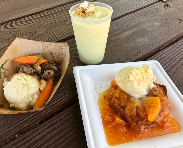 Northern Bloom's beef tenderloin tips, griddled pound cake with peach compote, and maple popcorn shake
