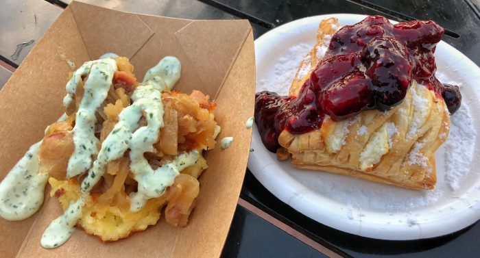 Bauernmarkt's savory potato pancake and warm cheese strudel