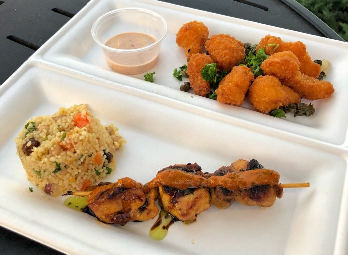 Harissa Chicken Kebab with Dried Fruit Couscous (bottom) and Fried Cauliflower with Chili Ranch Sauce (top) from Taste of Marrakesh